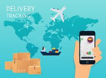 Hand holding mobile smart phone with app delivery tracking. Vector modern flat creative info graphics design on application. stock illustration