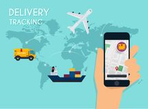 Hand holding mobile smart phone with app delivery tracking. Vector modern flat creative info graphics design on application. royalty free illustration