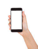 Hand holding mobile smart phone with blank screen Isolated on wh