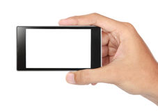 Hand holding mobile smart phone with blank screen Stock Photo
