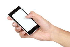 Hand holding mobile smart phone with blank screen Stock Photos