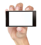 Hand holding mobile smart phone with blank screen Stock Image