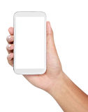 Hand holding mobile smart phone with blank screen Royalty Free Stock Photo