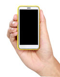 Hand holding mobile smart phone with blank screen Royalty Free Stock Photography