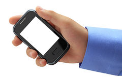 Hand holding mobile smart phone with blank screen. Stock Images