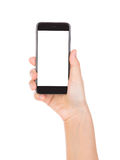 Hand holding mobile smart phone with blank screen Isolated Stock Images