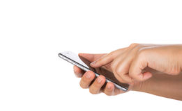 Hand holding mobile smart phone with blank screen Isolated Royalty Free Stock Photos
