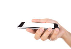 Hand holding mobile smart phone with blank screen Isolated Stock Photography