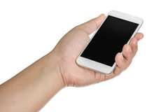 Hand holding mobile smart phone with blank screen. Isolated Stock Images