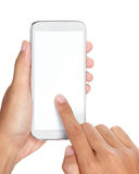 Hand holding mobile smart phone with blank screen Royalty Free Stock Image