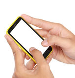 Hand holding mobile smart phone with blank screen. texting or sms Royalty Free Stock Photos