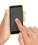 Hand holding mobile smart phone with blank screen Royalty Free Stock Images