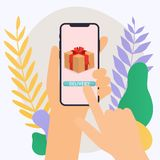 Hand holding mobile smart phone with delivery app. Vector modern. Flat creative info graphics design on application royalty free illustration