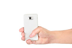 Hand holding mobile smart phone isolated Stock Photography