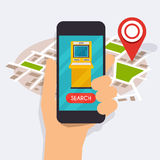 Hand holding mobile smart phone with mobile app atm search. Vector modern flat creative info graphics design on search atm application. Flat design modern Stock Photography