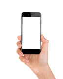 Hand holding mobile smart phone with screen Isolated Royalty Free Stock Images