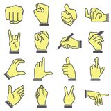 Hand holding mobile smart phone. Set of 16 hand icons royalty free illustration