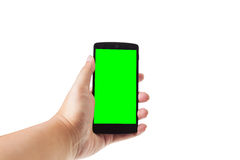 Hand holding mobile smartphone Stock Images