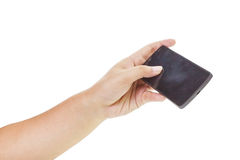 Hand holding mobile smartphone Royalty Free Stock Photos