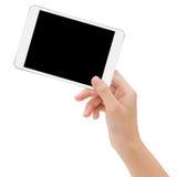 Hand holding mock-ups digital tablet on white background. Close-up hand holding mock-ups digital tablet on white background Royalty Free Stock Photo