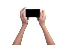 Hand holding mockup smartphone Stock Photo