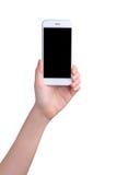 Hand holding mockup smartphone Royalty Free Stock Image
