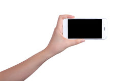 Hand holding mockup smartphone Royalty Free Stock Images