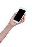 Hand holding mockup smartphone Royalty Free Stock Photos