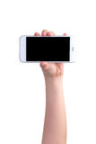 Hand holding mockup smartphone Stock Photography