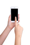 Hand holding mockup smartphone with touch on screen Stock Photos