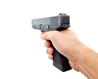 Hand holding a modern automatic handgun Stock Photo