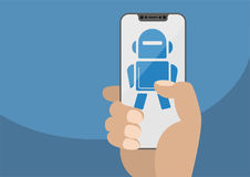 Hand holding modern bezel free smartphone. Robot icon displayed on touchscreen  Royalty Free Stock Images