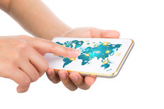 Hand holding Modern communication technology mobile phone show t Royalty Free Stock Photography