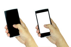 Hand holding modern smartphone with blank and black screen isola Stock Photo
