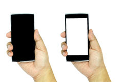Hand holding modern smartphone with blank and black screen isola Stock Image