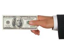 Hand Holding Money stock image