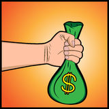 Hand holding money bag. An illustration of a hand holding money bag Royalty Free Stock Photos