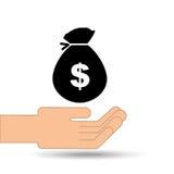 Hand holding money bag dollar design. Illustration Royalty Free Stock Image