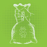 Hand holding money bag vector with line art sketch style. Royalty Free Stock Image