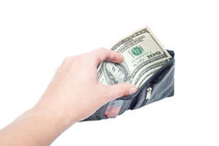 A hand holding an money with black wallet Stock Photography