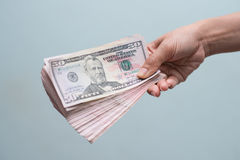 Hand holding with money Stock Images