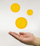Hand holding money coins Stock Photography