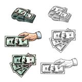 Dollars and hand with money vector sketch icons. Hand holding money dollar banknotes sketch icons. Vector set of hand taking or giving 100 dollars money bank Royalty Free Illustration