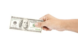 Hand holding money dollars Royalty Free Stock Photo