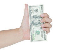 Hand holding money dollars Royalty Free Stock Image