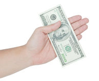 Hand holding money dollars Stock Images
