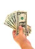 Hand Holding Money Dollars Isolated Royalty Free Stock Images