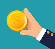 Hand holding money financial business. Illustration eps 10 Royalty Free Stock Photos