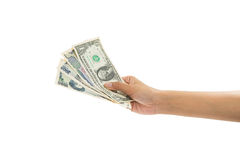 Hand holding money Stock Photography