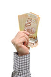 Hand holding money one hundred dollars Stock Image